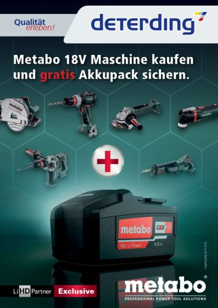 METABO Aktion - GRATIS Akkupack sichern