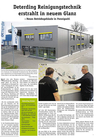 PR-Artikel Betriebsgebäude Reinigungstechnik